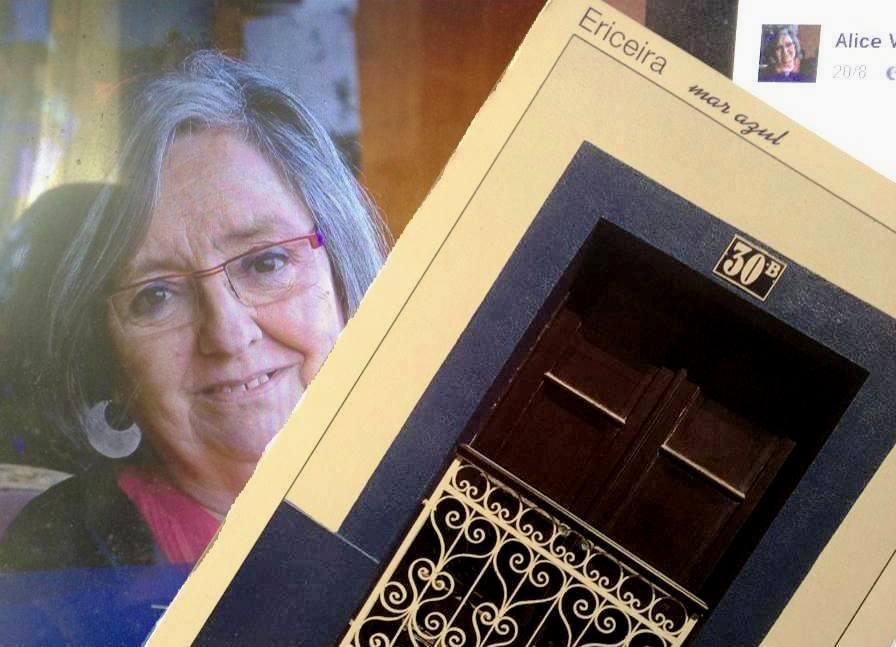 Alice Vieira e um postal da Ericeira.