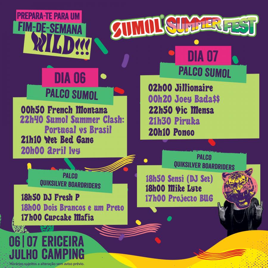Horários Sumol Summer Fest 2018 - ph. DR